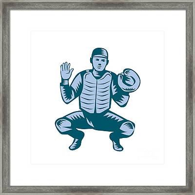 Baseball Catcher Gloves Woodcut Framed Print by Aloysius Patrimonio
