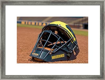 Baseball Catcher Helmet Framed Print