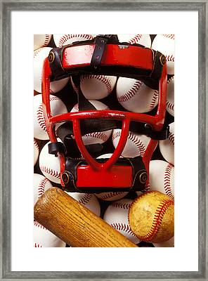 Baseball Catchers Mask And Balls Framed Print by Garry Gay