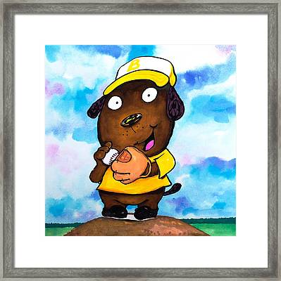 Baseball Dog 2 Framed Print