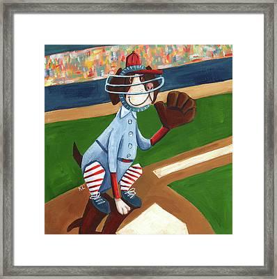 Baseball Dog Framed Print