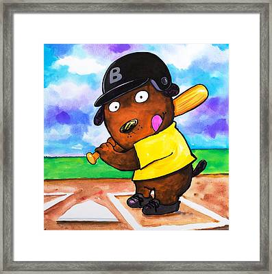 Baseball Dog Framed Print