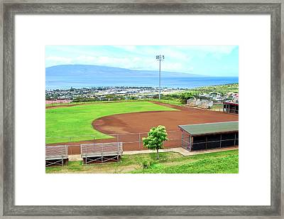 Baseball Field At Lahainaluna High School Framed Print
