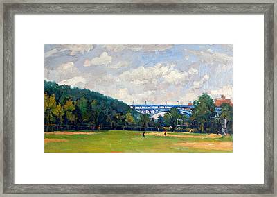 Baseball Fields Inwood Henry Hudson Bridge 8x14 Original Plein Air Impressionist Oil On Panel Framed Print
