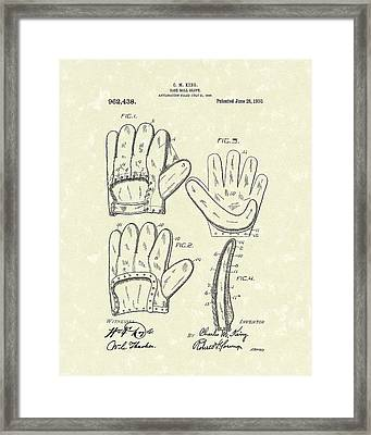 Baseball Glove 1910 Patent Art Framed Print