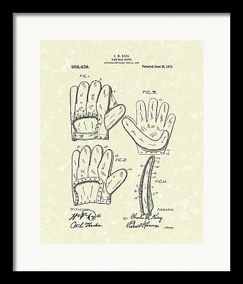 Leather Glove Drawings Framed Prints