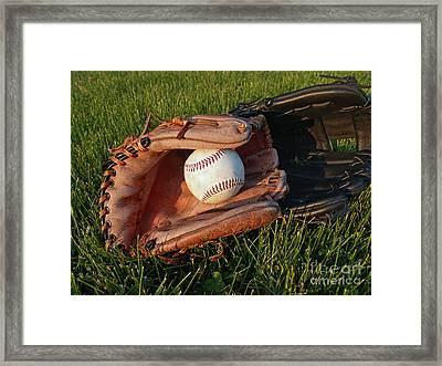 Baseball Gloves After The Game Framed Print by Anna Lisa Yoder