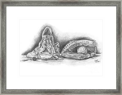 Baseball Gloves And Shoes Framed Print