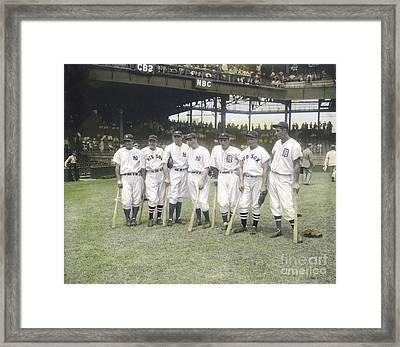 Baseball Greats At Griffith Stadium Framed Print by Susan Bock