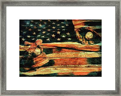 Baseball Grunge Barn Door Framed Print