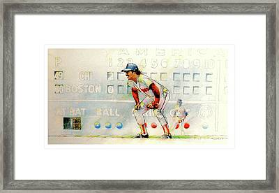 Jerry Remy At 2nd Base Framed Print by David Kelley