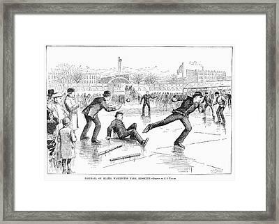 Baseball On Ice, 1884 Framed Print by Granger