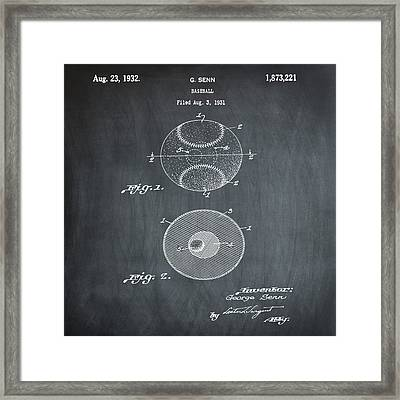 Baseball Patent 1832 In Chalk Framed Print by Bill Cannon