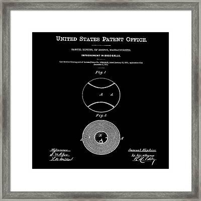 Baseball Patent 1876 Black Framed Print by Bill Cannon