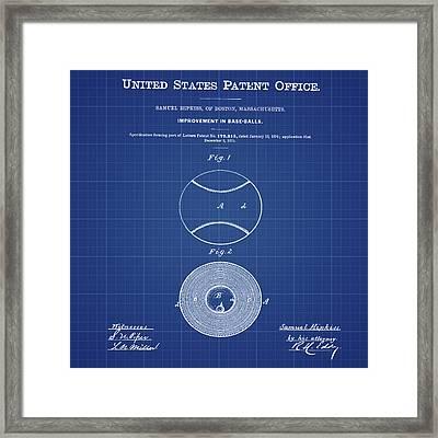 Baseball Patent 1876 Blueprint Framed Print by Bill Cannon