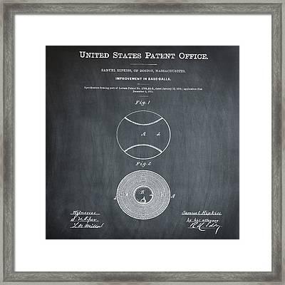 Baseball Patent 1876 Chalk Framed Print by Bill Cannon