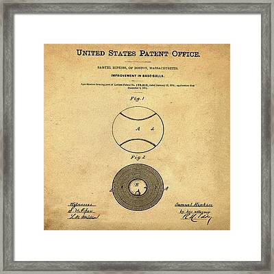 Baseball Patent 1876 In Sepia Framed Print by Bill Cannon