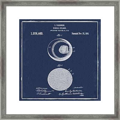 Baseball Patent 1916 Blue Framed Print