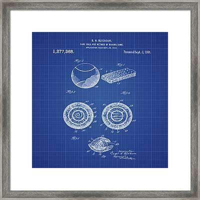 Baseball Patent 1918 In Blueprint Framed Print by Bill Cannon