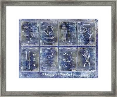 Baseball Patent History Blue Framed Print by Jon Neidert