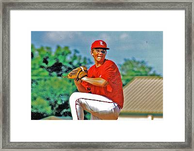 Baseball Pitcher Framed Print by Marilyn Holkham