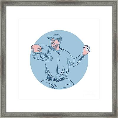 Baseball Pitcher Throwing Ball Circle Drawing Framed Print