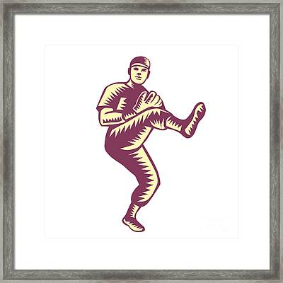 Baseball Pitcher Throwing Ball Woodcut Framed Print by Aloysius Patrimonio