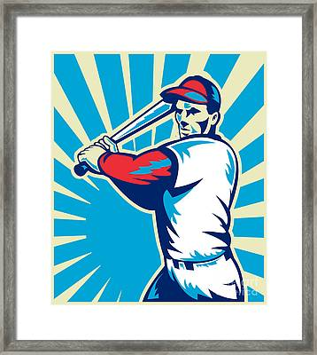 Baseball Player Batting Retro Framed Print