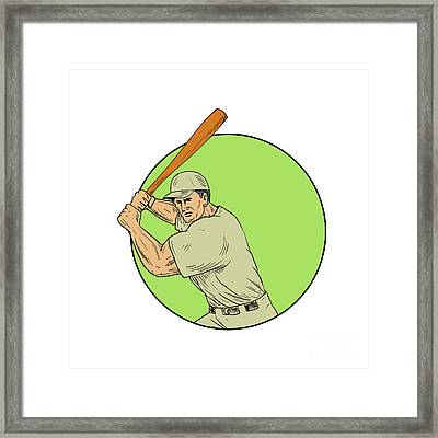Baseball Player Batting Stance Circle Drawing Framed Print by Aloysius Patrimonio