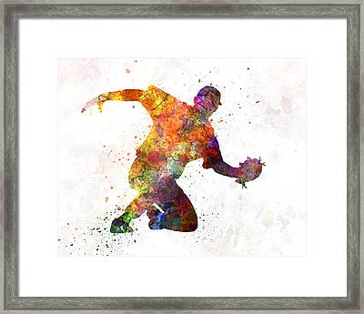 Baseball Player Catching A Ball Framed Print by Pablo Romero