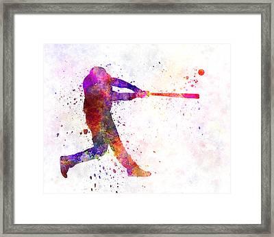 Baseball Player Hitting A Ball 01 Framed Print