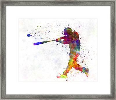 Baseball Player Hitting A Ball 02 Framed Print