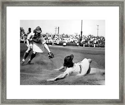 Baseball, Racine Wisconsin Belles Framed Print by Everett
