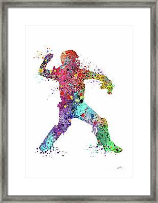 Baseball Softball Catcher 3 Watercolor Print Framed Print by Svetla Tancheva