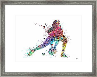 Baseball Softball Catcher Sports Art Print Framed Print by Svetla Tancheva