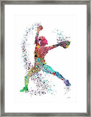 Baseball Softball Pitcher Watercolor Print Framed Print by Svetla Tancheva