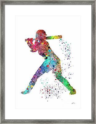 Baseball Softball Player Framed Print by Svetla Tancheva