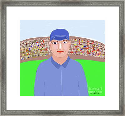 Baseball Star Portrait Framed Print by Fred Jinkins