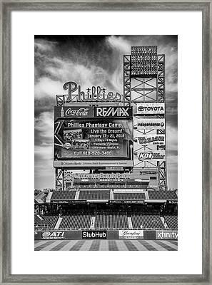 Baseball Time In Philly - Bw Framed Print