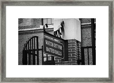 Baseball Warning Bw Framed Print
