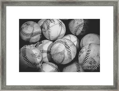 Baseballs In Black And White Framed Print