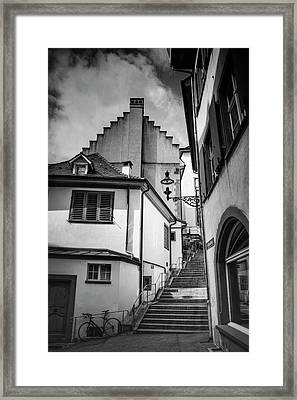 Basel Old Town In Black And White  Framed Print