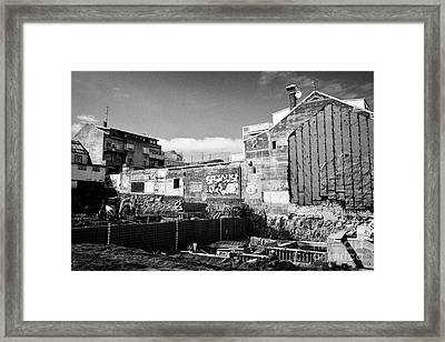 basement construction underway in new building in downtown reykjavik Iceland Framed Print