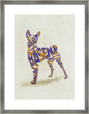 Framed Print featuring the painting Basenji Dog Watercolor Painting / Typographic Art by Inspirowl Design
