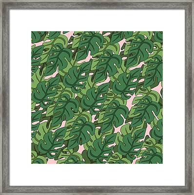Basic Green Lead Pattern Framed Print