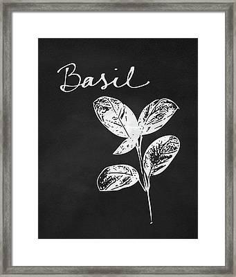 Basil Black And White- Art By Linda Woods Framed Print