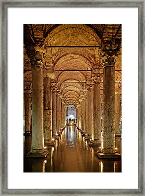 Basilica Cistern Under Istanbul Framed Print