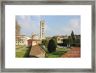 Basilica Di San Frediano With Palazzo Pfanner Gardens Framed Print by Kiril Stanchev