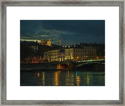 Basilica Notre Dame De Fourviere From Across The Rhone River Framed Print