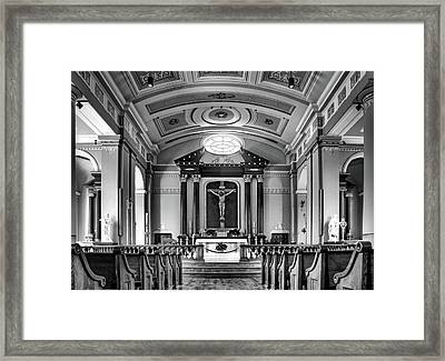 Framed Print featuring the photograph Basilica Of Saint Louis King - Black And White by Nikolyn McDonald